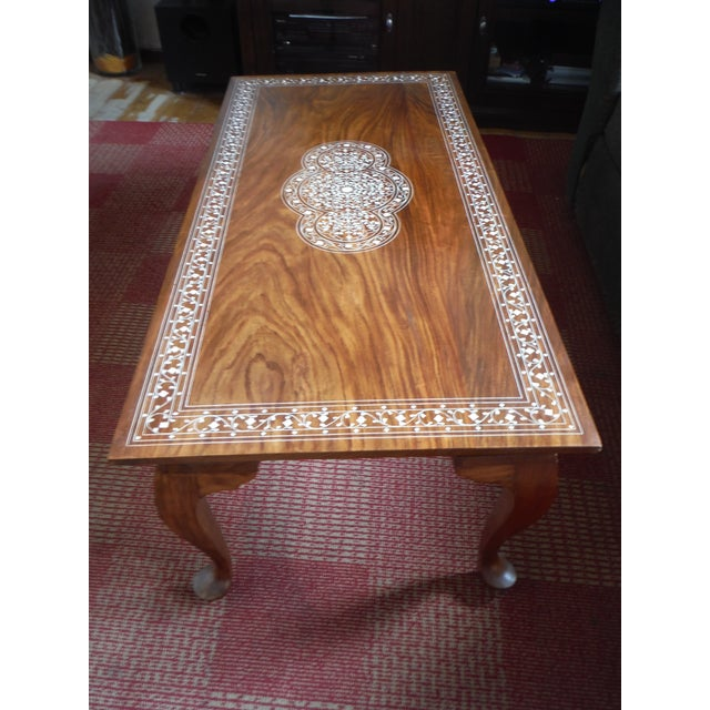 Pakistani Inlayed Rosewood Coffee Table - Image 2 of 9