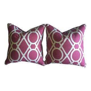 Custom Faux Bamboo Trellis Magenta Pink Pillows- a Pair