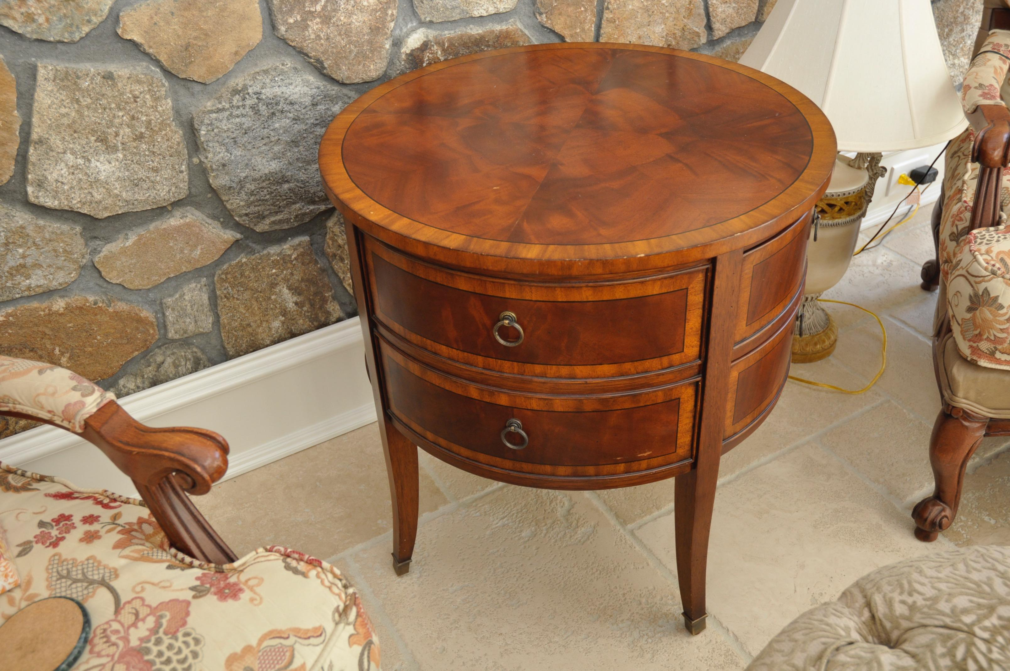 Wonderful Ethan Allen Newport Collection Osborne Round End Table   Image 2 Of 8