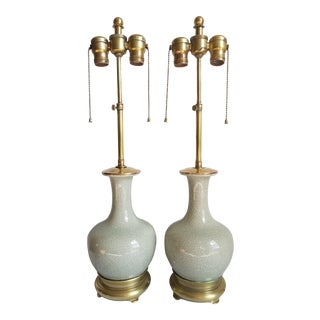 Hollywood Regency Style Chinese Celadon Gourd Brass Mounted Table Lamps - A Pair