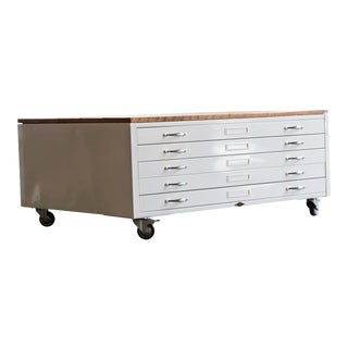 Flat File Coffee Table in High Gloss White With Reclaimed Wood
