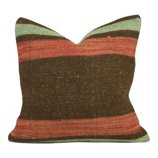 Chocolate, Mint & Persimmon Striped Pillow