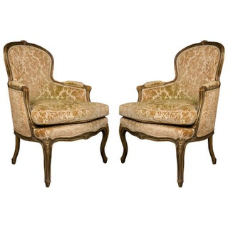 French Walnut Bergère Chairs - A Pair