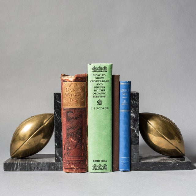 Brass Football Bookends - Pair - Image 2 of 3