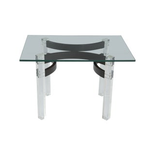 Lucite & Wood Accent Table