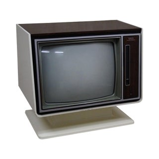 Vintage White Zenith TV on Stand circa 1970s
