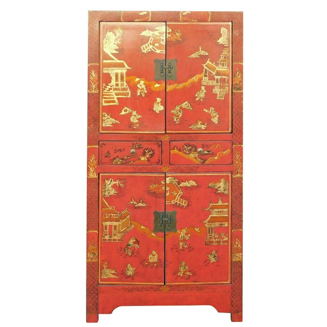 Chinese oriental red golden scenery slim storage cupboard for Oriental cupboard