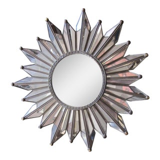 Delicate French Mirrored Sunburst Mirror
