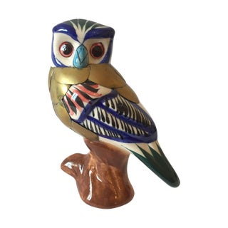 Vintage Owl Ceramic And Brass Figurine