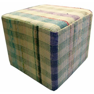 Cube Ottoman in Blue, White, Green, and Orange
