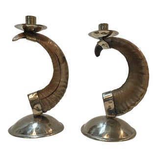 Ram Horn Candlesticks - A Pair