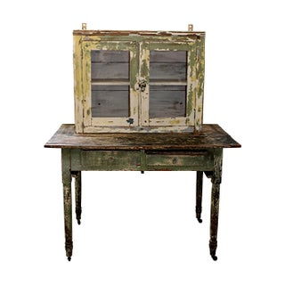 Original Paint Rustic Farmhouse Table Desk Hutch