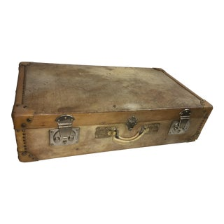 Old English Vellum Suitcase / Trunk