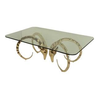 Brass Modernist Ibex or Ram's Head Coffee Table