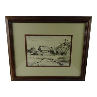 """Old Homestead Oregon"" Ink & Gouache by Paul Lauritz"