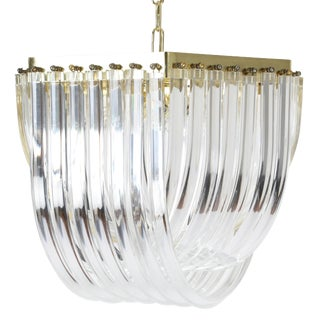 1970S BENT-LUCITE CHANDELIER WITH BRASS FRAME