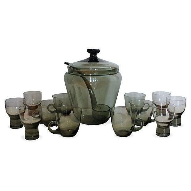 Mid-Century Smoke Gray Punch Set - Image 1 of 4