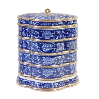 Porcelain Blue & White Stacked Candy Box