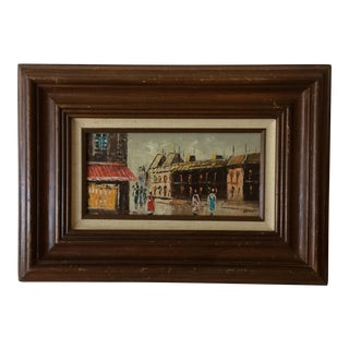 Mid-Century Oil on Canvas Masonite Street Scene Painting