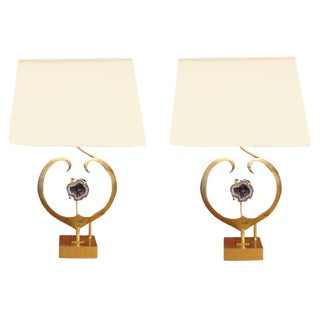 Rare Pair of Table Lamps in Brass and Amethyst Quartz by Willy Daro, Belgium circa 1970