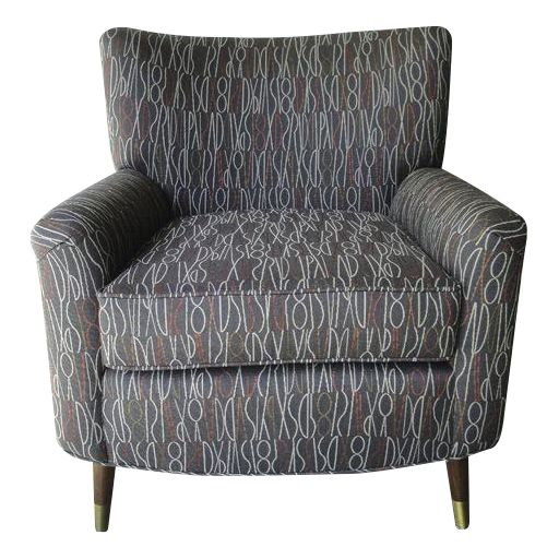 Brown Retro Print Modern Lounge Chair - Image 1 of 6