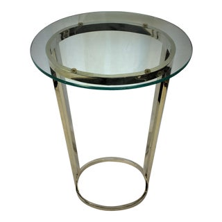 Chrome Pedestal Side Table with Glass Top