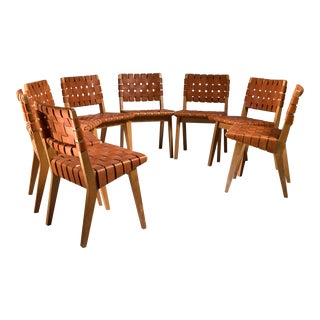 Jens Risom Set of Eight Webbed Knoll Chairs with Leather Webbing, USA, 1952