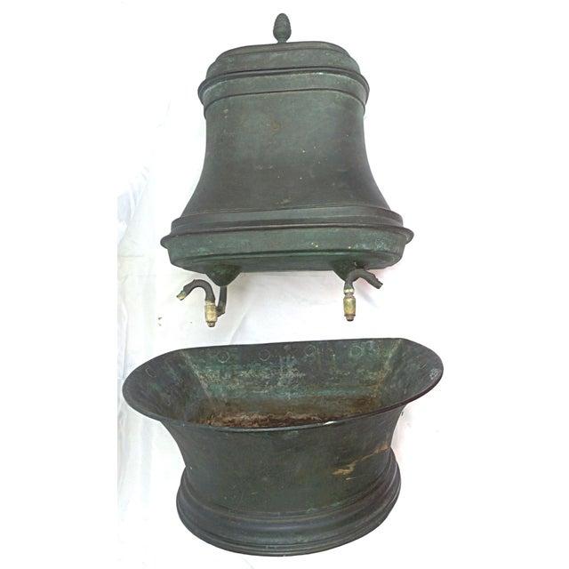vintage french green copper lavabo chairish. Black Bedroom Furniture Sets. Home Design Ideas
