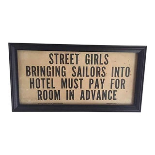 Mid Century Modern Hotel Sign Street Girls Sailors Original Print