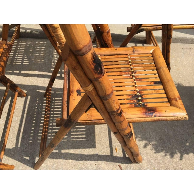 Scorched Bamboo Frame Folding Chairs - Set of Five - Image 6 of 9