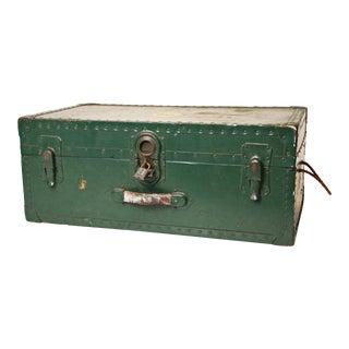 Vintage Industrial Green Painted Wood Foot Locker