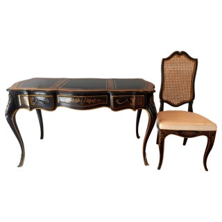 Drexel Chinoiserie Leather Writing Desk & Chair