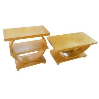Art Deco Brown-Saltman Side Tables - A Pair