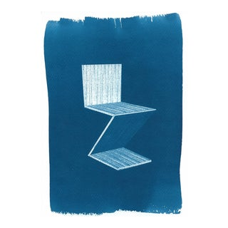 Gerrit Rietveld Zig-Zag Chair Cyanotype Print on Watercolor Paper
