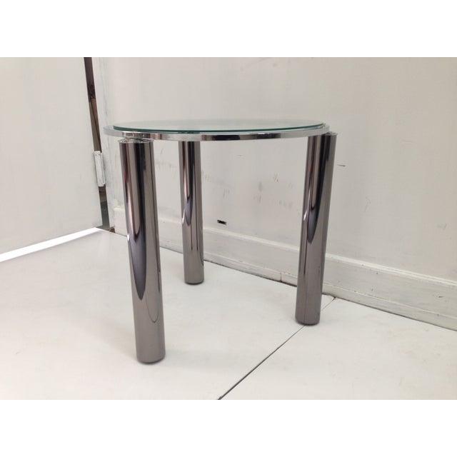 Karl Springer Style Chrome End Table - Image 5 of 6