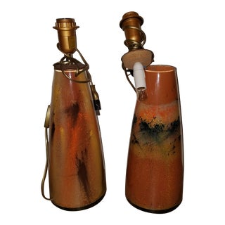 French Fired Clay Lamps - A Pair