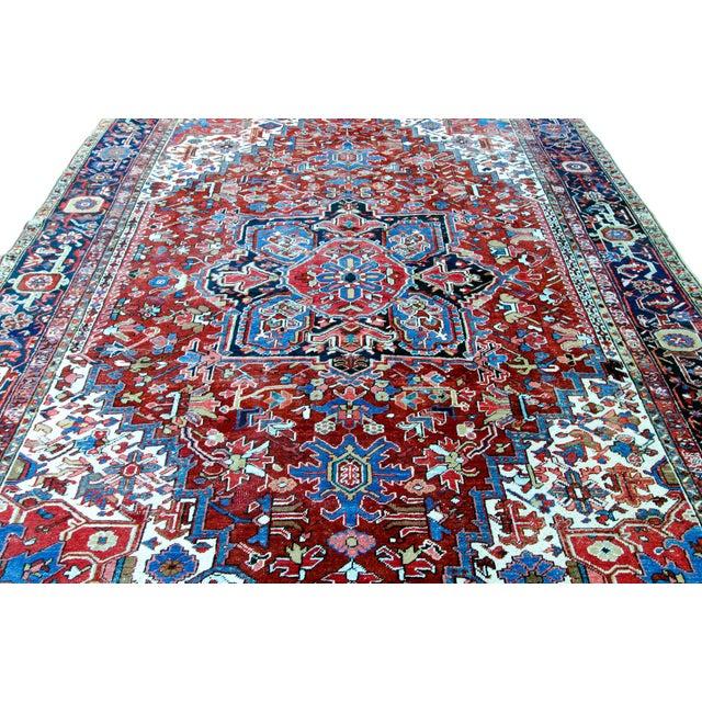 """Antique Persian Heriz Rug - 8' 10"""" x 11' 2"""" - Image 3 of 9"""