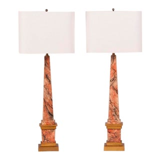 A pair of faux marble and gilded obelisks from Italy c.1900 now mounted as custom lamps.