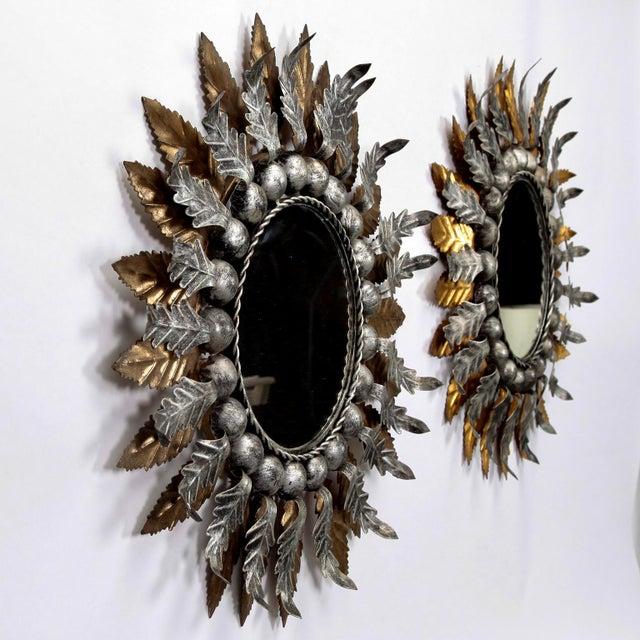 Pair Mid Century Spanish Gilt and Silver Metal Sunburst Mirrors - Image 6 of 9