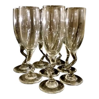 Set of 8 Libby Crooked Z Stem Champagne Glasses