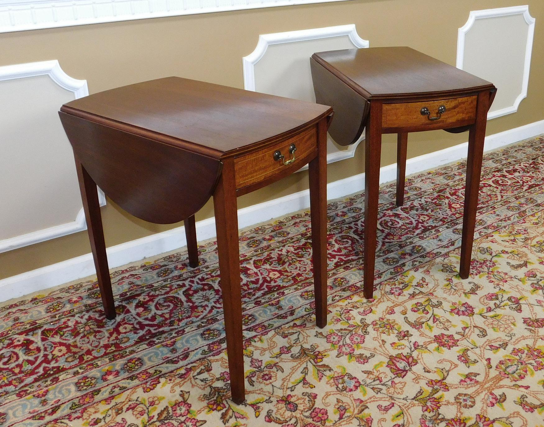 Vintage Federal Style Pembroke Drop Leaf End Tables   Pair   Image 5 Of 9