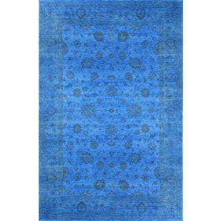 "Blue Overdyed Area Rug - 12'1"" X 17'10"""