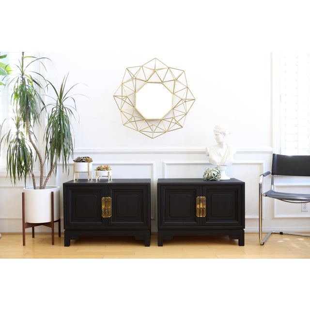 Mid Century Modern Black Nightstands - A Pair - Image 3 of 8