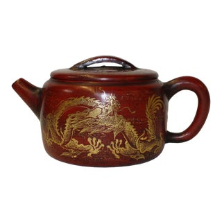 Chinese Zisha Clay Brown Golden Scenery Teapot Display