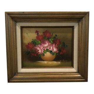Vintage Signed Pink Floral Still Life Oil Painting