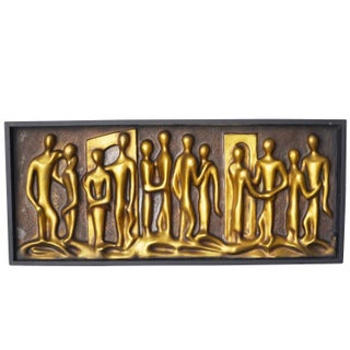 "Mid-Century Abstract ""Lovers"" Figural Wall Relief"