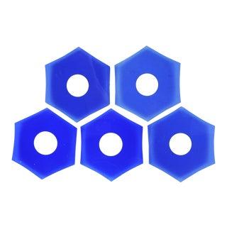 Cobalt Blue Glass Bobeches - Set of 5