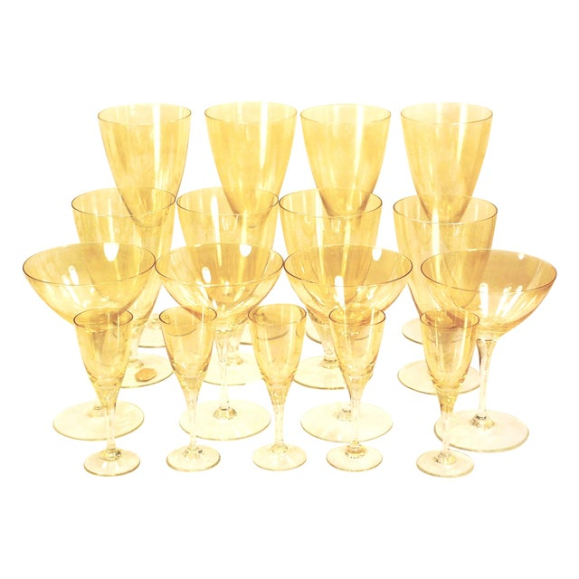 Bohemia Crystal Glassware Gold Iridescent - S/17 - Image 1 of 9