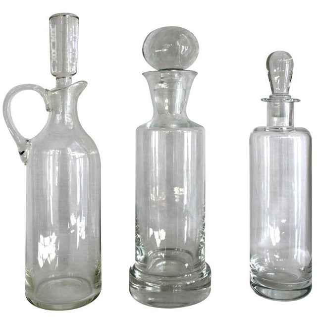 Image of Vintage Glass Decanters - Set of 3
