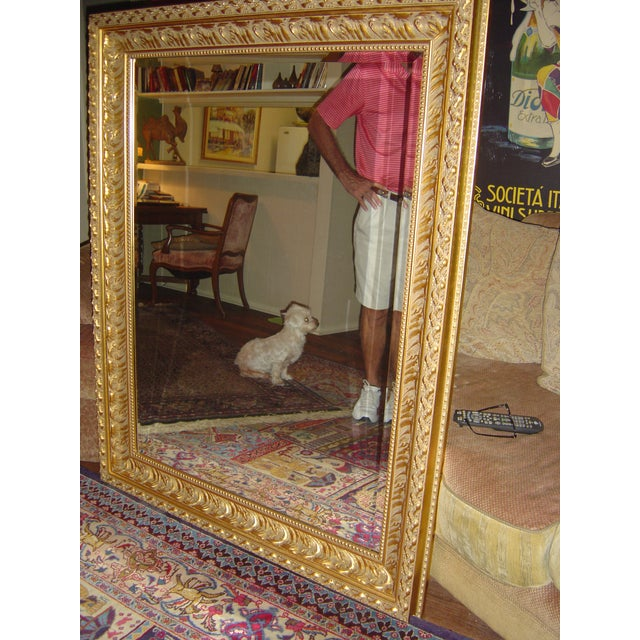 Image of Large Beveled Glass & Gold Accents Mirror